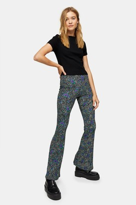 Topshop Color Pop Floral Flare Pants