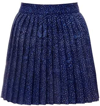 Hasanova Midnight Blue Sparkles Pleated Skirt