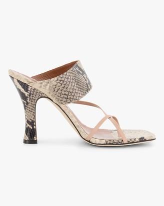 Paris Texas Python-Embossed Crossover Thong Sandal