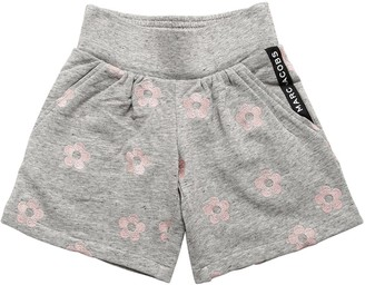 Little Marc Jacobs Daisy Embroidered Cotton Sweat Shorts