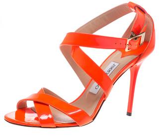 Jimmy Choo Fluorescent Orange Patent Leather Louise Cross Strap Sandals Size 39.5