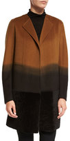 Lafayette 148 New York Hayes Collarless Ombre Coat w/ Fur Panel, Clove Multi