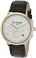 Ben Sherman Men's 'Portobello Professional' Quartz Stainless Steel and Leather Watch, Color:Brown (Model: WB028BRGA)