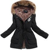 Aro Lora Women's Winter Warm Faux Fur Hooded Cotton-padded Coat Parka Long Jacket