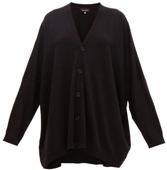 eskandar Wide V-neck Cashmere Cardigan - Black