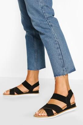 boohoo Cross Strap Elastic Sandals