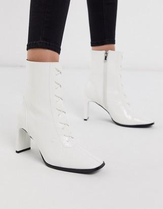 Z Code Z Z_Code_Z Taja vegan lace up heeled ankle boot in white croc