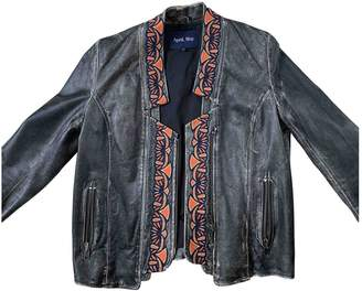 April May Grey Leather Jacket for Women
