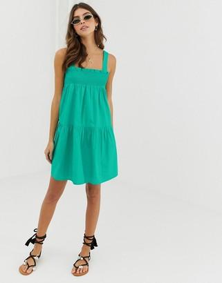 Asos Design DESIGN trapeze mini cotton sundress-Green