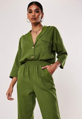 Missguided Khaki Co Ord Linen Look Shirt