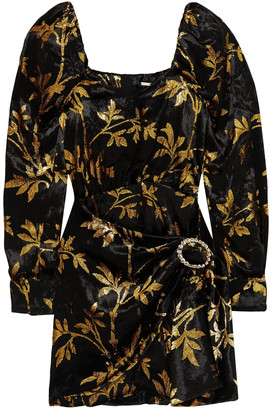 Dodo Bar Or Mona Draped Metallic Velvet-jacquard Mini Dress