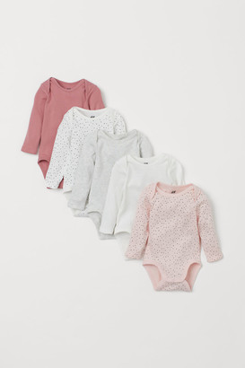 H&M 5-pack Long-sleeved Bodysuits - Pink