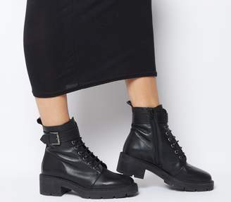 Office Accurate Lace Up Cleated Sole Boots Black Leather