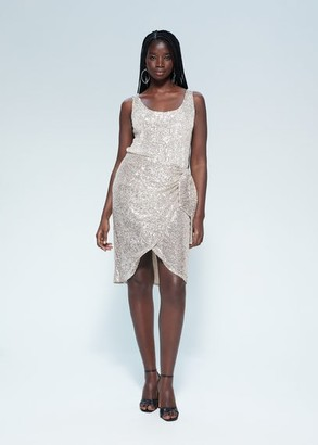 MANGO Draped detail sequin skirt