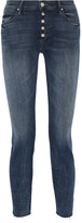 Mother The Fly Cut Stunner Distressed Mid-rise Skinny Jeans - Dark denim
