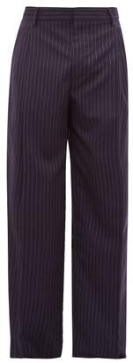 Loewe Pleated Wide Leg Pinstriped Wool Trousers - Mens - Navy White