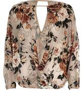 River Island Womens Cream burnout floral split sleeve top