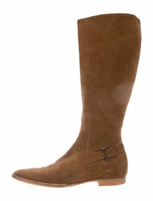 Gucci Suede Pointed-Toe Knee-High Boots
