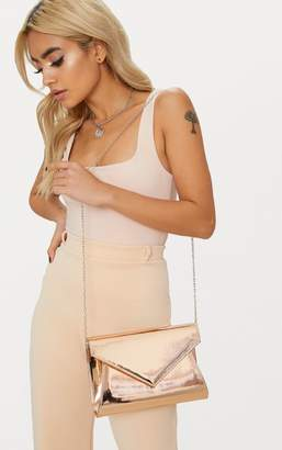 PrettyLittleThing Rose Gold Metallic Chain Cross Body Bag
