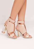 Missguided Perspex Block Heel Lace Up Sandal Nude