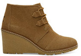 Toms Toffee Suede with Faux Crepe Wedge Women's Desert Wedge Booties