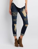 Charlotte Russe Distressed Patchwork Skinny Jeans