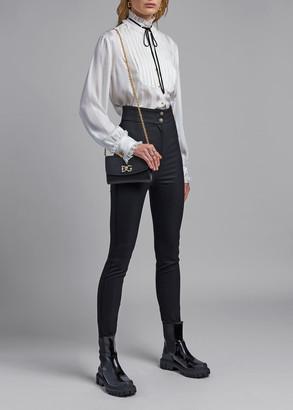 Dolce & Gabbana Satin-Striped Bowed Collar Blouse