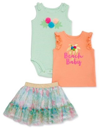 Wonder Nation Baby Girls Tank Top, Bodysuit & Floral Tutu Skirt, 3-pc Outfit Set