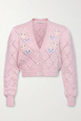 Alessandra Rich Cropped Embroidered Pointelle-knit Alpaca-blend Cardigan - Pastel pink