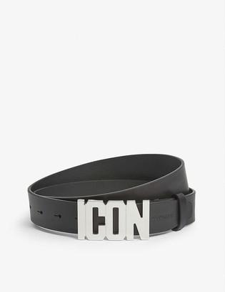 Dsquared2 Acc Icon logo-plaque leather belt
