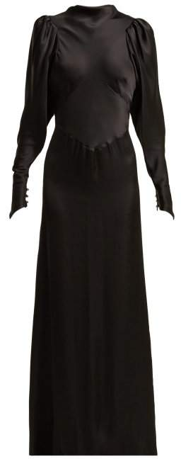 Paco Rabanne Panelled Satin Gown - Womens - Black