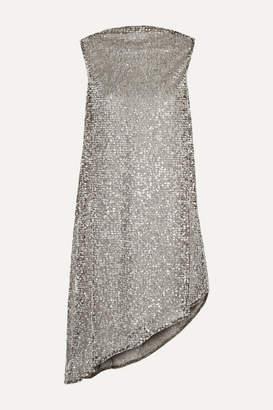 Halpern Draped Sequined Mesh Mini Dress - Silver