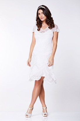 Gatsbylady London Beatrice Fringe Flapper Dress in White
