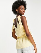 Thumbnail for your product : New Look textured v neck tie strap cami in sunflower yellow