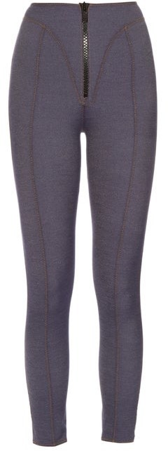 Lisa Marie Fernandez Yoke Zip Front High Waisted Leggings - Womens - Dark Denim
