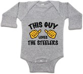Moment Gear This Guy Loves The Steelers Infant Long-Sleeve Romper Grey