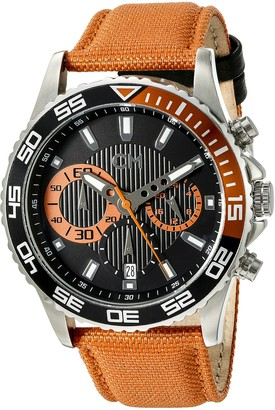 Carlo Monti Avellino Men's Quartz Watch with Black Dial Chronograph Display and Orange Fabric Strap CM509-124A