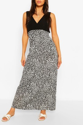 boohoo Petite Leopard Print Contrast Skirt Maxi Dress