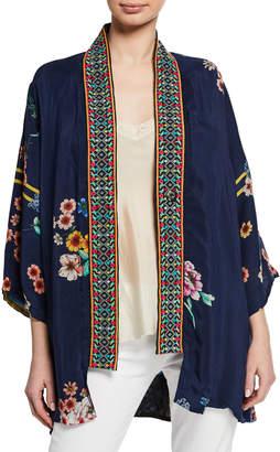 Johnny Was Maci Floral Georgette Reversible Kimono w/ Embroidered Trim