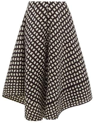 Pleats Please Issey Miyake Check-print Technical Pleated Culottes - Womens - Black White