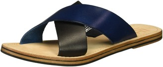 LFL by Lust for Life Women's L-mira Flat Sandal Blue/Multi Leather 6 Medium US