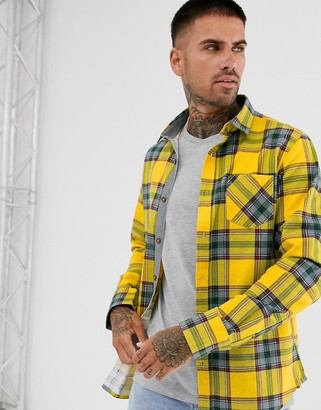 Brave Soul tartan check flannel shirt in mustard-Yellow