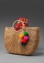 Beach Basket with Pom Poms