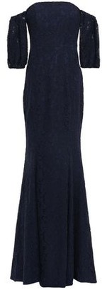 ZAC Zac Posen Off-the-shoulder Corded Lace-paneled Stretch-crepe Gown