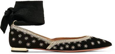 Aquazzura Bliss 带缀饰绒面革尖头平底鞋