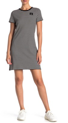 Calvin Klein Short Sleeve Striped Logo T-Shirt Dress