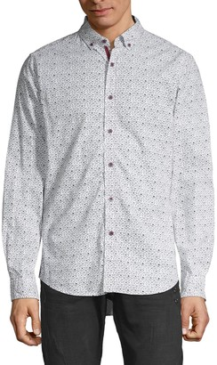Report Collection Heritage Glasses-Print Cotton Sport Shirt