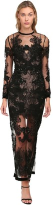 Yolancris Beaded Lace Sheer Long Dress