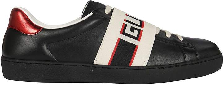Gucci Logo And Stripe Leather Sneakers