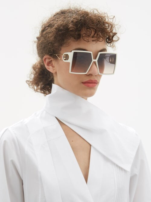 Thumbnail for your product : Christian Dior 30montaigne Oversized Square Acetate Sunglasses - Ivory